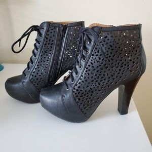 Black Platform Laser Cutout Booties